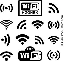Set of fourteen different black wireless and wifi icons for remote access and communication via radio waves. Vector illustration EPS10
