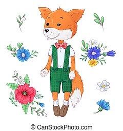 Set of fox flowers. Hand drawing Vector illustration