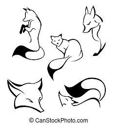 Set of foxes in curve lines. Vector illustration