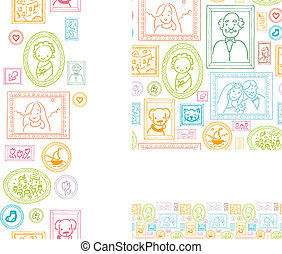 Set of framed pictures seamless pattern and borders - Vector...