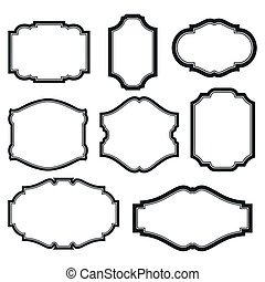 Set of frames - baroque simple set of black frames isolated...