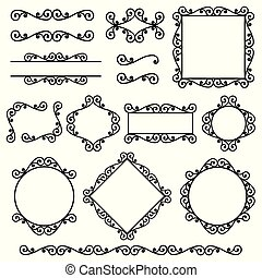 Set of frames, borders, corners in the same style