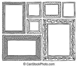 Set of frames doodle hand drawn sketch isolated