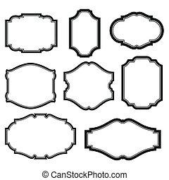 Set of frames - baroque simple set of black frames isolated...