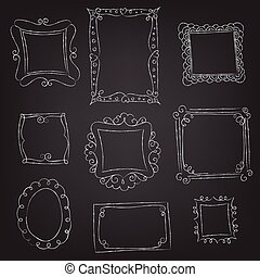 set of frames hand drawn with chalk