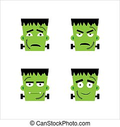 Set of frankenstein facial emotions. Vector illustration in cartoon style