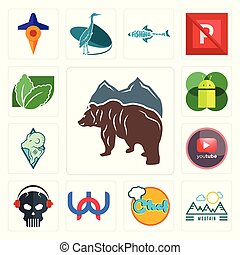 Set of free bear, moutain, chef, wn, skull with headphone, pinetree, rams, mobile os a, stevia icons