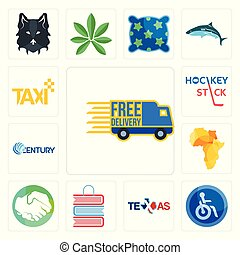 Set of free delivery, disabled, texas, book shop, hands shaking, africa map, century, hockey stick, taxi icons