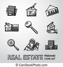Set of freehand REAL ESTATE icons - landscape, sale tag, key, hand with house, search icon, map, skyscraper. Vector