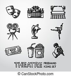 Set of freehand Theatre icons - masks, theater, stage, cinema, award, ballet, ticket, popcorn and cola, hand with microphone. Vector