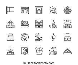Set of French Culture Line Icons. Perfumery, Street Cafe, Alcohol, Mime and more