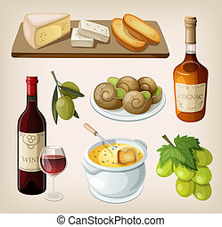 Set of french drinks and appetizer - Set of traditional...