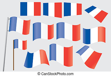 French flag - set of French flags vector illustration