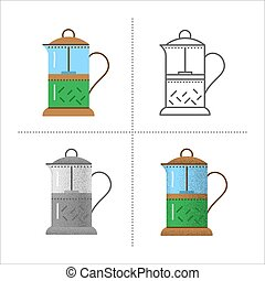 Set of french press icons