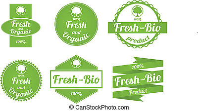Set of fresh and organic labels