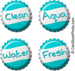 Set of fresh bottle caps isolated on white background