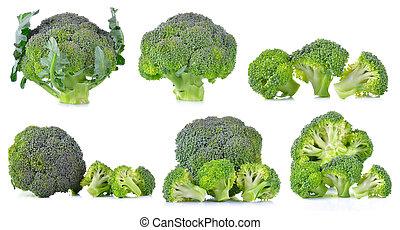 Set of fresh broccoli isolated on white background