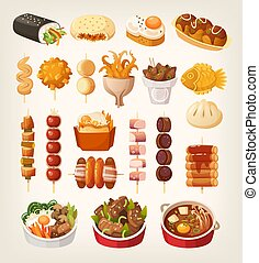 Set of fresh delicious fast foods from asian streets.