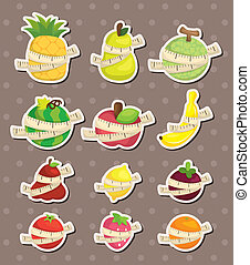 set of fresh fruit and ruler health  stickers