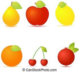 Set of fresh fruit on a white background.