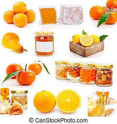 set of fresh fruit with jam