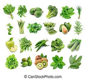 Set of fresh green vegetables.