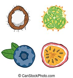 Set of fresh hand drawn fruits and vegetables and products.