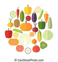 Set of fresh healthy vegetables made in flat style.