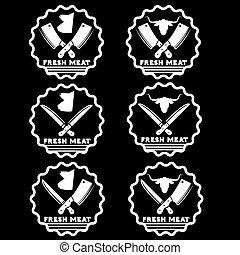 set of fresh meat emblems