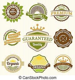 Set of Fresh Organic Labels and Ele