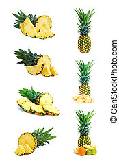 Set of fresh pineapple fruits with cut isolated on white.