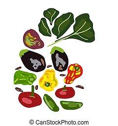 Set of fresh raw vegetables.