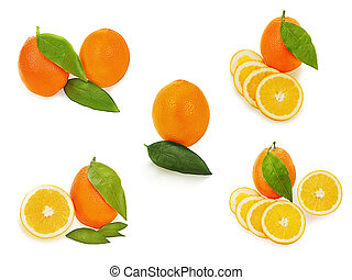 set of fresh ripe orange fruits with cut and green leaves isolat