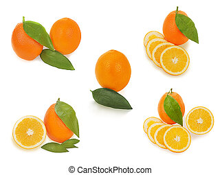 set of fresh ripe orange fruits with cut and green leaves isolated on white background