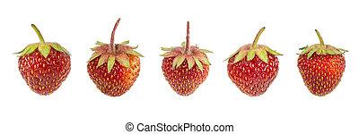 Set of fresh strawberries isolated on white