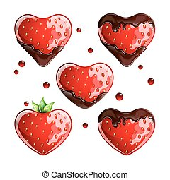 Set of fresh strawberries with chocolate on white background.
