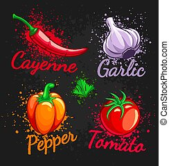 Set of fresh vegetables cherry tomato pepper garlic chili