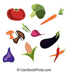 Set of fresh vegetables