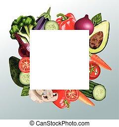 set of fresh vegetables in square frame