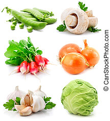set of fresh vegetables with green leaf
