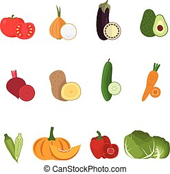 Set of fresh vegetables with half cuts for your design