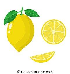 Set of fresh whole, half and slice lemon isolated on white background. Organic fruits. Cartoon style. Vector illustration for any design.