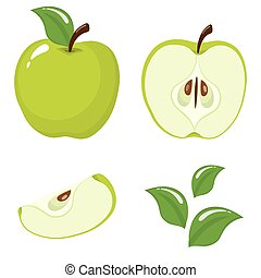 Set of fresh whole, half, cut slice and leaves green apple fruit isolated on white background. Summer fruits for healthy lifestyle. Organic fruit. Cartoon style. Vector illustration for any design.