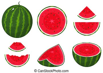 Set of fresh whole, half, cut slice watermelon fruit isolated on white background. Summer fruits for healthy lifestyle. Organic fruit. Cartoon style. Vector illustration for any design.