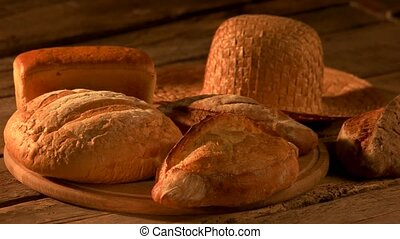 Set of freshly baked bread on rustic background. Fresh...