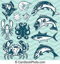 set of freshwater and marine fish and shellfish - set of...
