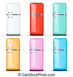 Set of Fridge refrigerator. Vector isolated on white background