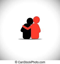 set of friendship, dependence, empathy, bonding - vector icons