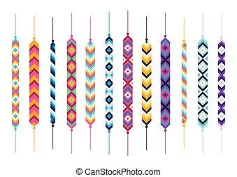Set of friendship hippy bracelets. Multicolor vector...