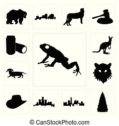Set of frog outline on white background, christmas tree images state texas michigan background icons
